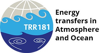 TRR 181 Logo, Waves in the Ocean and Atmosphere over a grid.