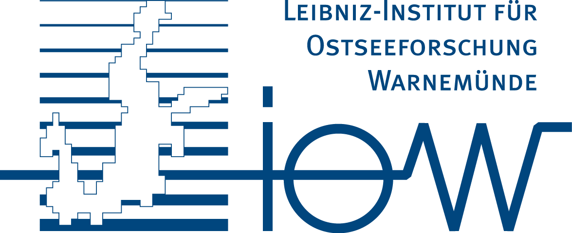 Logo of the Leibniz Institut for Baltic Sea Research (IOW), A cut out of the Baltic Sea over blue lines.